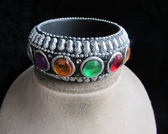 Vintage Wide Chunky Multi Colored Stone Bangle Bracelet