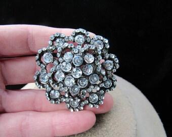 Vintage Silvertone & Clear Rhinestone Floral Pin
