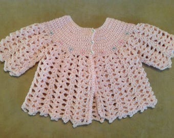 Vintage crocheted baby girl sweater 0 - 3 months