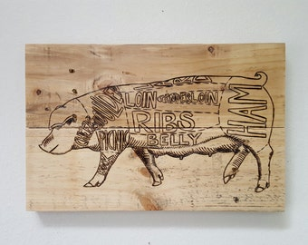 Reclaimed Wood Butcher Diagram. Pork Cuts. Kitchen Art Pig Diagram. Pork Butcher Chart.