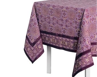 Metallic Garden Tablecloth - Plum