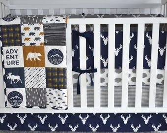 Moose Adventure Crib Bedding in navy and mustard, woodland nursery, baby boy nursery, navy nursery, adventure nursery, antlers bedding