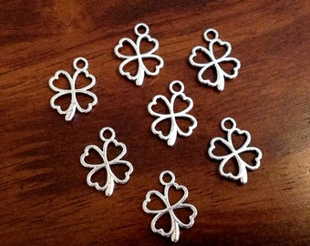 Four Leaf Clover Charms 25pcs, Antique Silver Charms, Clover Charms, 4 Leaf Clover Charms, Shamrock Charms, Findings, Jewelry Supplies