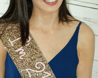 21st Birthday Sash -  I'm 21 Today - Glitter Sash - Personalised Sash - Any Age  - gold glitter handmade sparkle - can be personalised