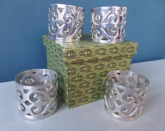 Napkin Rings, Silver Plated, Handmade Fretwork Design, Set of 4 in Original Mid Century Pattern Card Box, Circa 1950