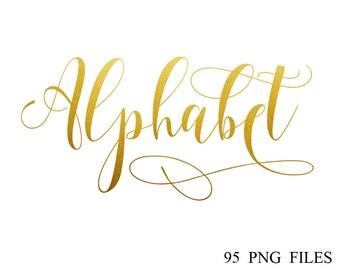 Buy 3 for 9 USD - Gold Alphabet Clip art, Gold Foil Alphabet, Digital clipart, Numbers, Font, Letters cards, invitationsrt, PNG
