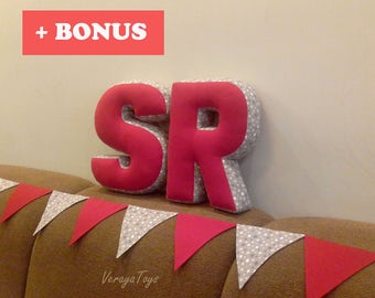 Letter R Letter S Red and gray stars Fabric letter Alphabet pillow Personalized gift Nursery decor Baby room Wedding decoration Flag banner