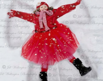 Digital Snow Angel background, backdrop, for winter, photographers, photography, photos