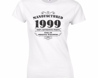 Women's 18th Birthday T Shirt Funny Manufactured 1999 18th Birthday Gifts *GIFT BOXED free of charge!*
