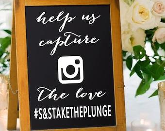 Wedding Hash Tag Sign Decals - Wedding Hashtag Sign - Rustic Wedding Decor - Unique Wedding Decor - wood sign - chalkboard wedding sign