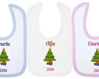 Personalised 2016 Christmas Baby Bib With Christmas Tree. Available in WHITE, PINK or BLUE