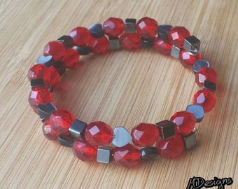 Red and Black Glass and Hematite Wrap Bracelet