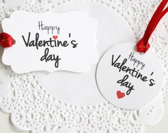 Happy Valentine's Day Tags, Small gift Tags, St Valentines School Favor Tags, Glitter Heart Tags, Gift for her, Gift for Girlfriend