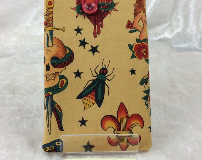 Gothic Tattoo Phone Glasses Case elastic button Alexander Henry design fabric Handmade in England