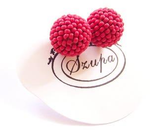 Red earrings, seed bead earrings, ball earrings, stud earrings, handmade earrings, beaded balls, beading earrings, woven earrings, gift