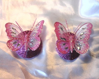 Bright pink 3D butterfly niplle pasties