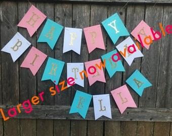 Large Happy birthday banner - gold glitter birthday banner - pink and aqua