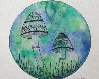 "original painting ""dreamy mushrooms"""