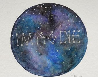 """original painting """"imagine"""""""