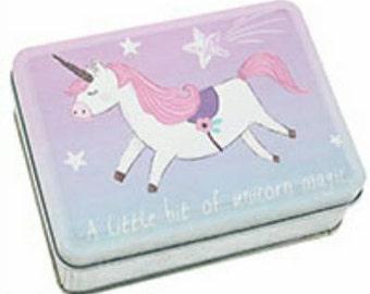 cute mini unicorn keep safe tin