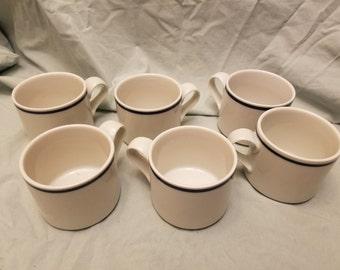 Set of 6 Dansk bistro Christianshavn Blue Flat coffee cups/mugs