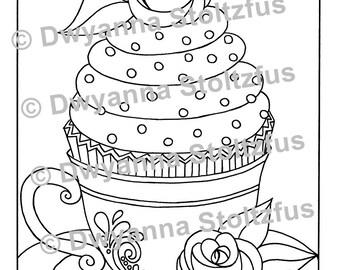 Teacup Cupcake Coloring Page PDF