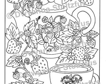 Strawberry Tea Party Coloring Page PDF