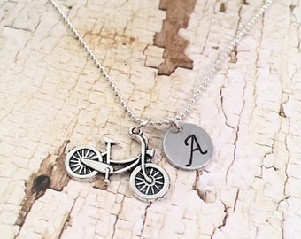 Bicycle charm necklace, Initial Necklace, Personalized stainless steel necklace, charm necklace, cycling charm, for her, bike