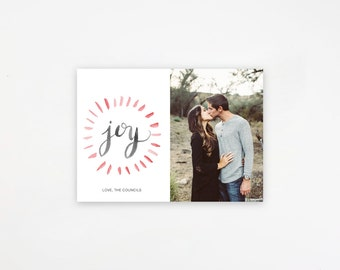 Photoshop Template, Custom Christmas Photo Card, Instant Download, Joy, Simple Christmas Card, PSD File for Photographers