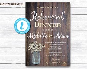 Rustic Rehearsal Dinner Invitation, Rustic Invitation, Mason Jar invitation, Flower Invitation, Rehearsal Dinner Invite, INSTANT DOWNLOAD