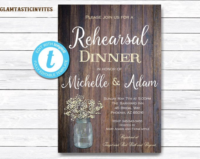 Rustic Rehearsal Dinner Invitation, Rustic Invitation, Mason Jar invitation, Flower Invitation, Rehearsal Dinner Invite, INSTANT DOWNLOAD
