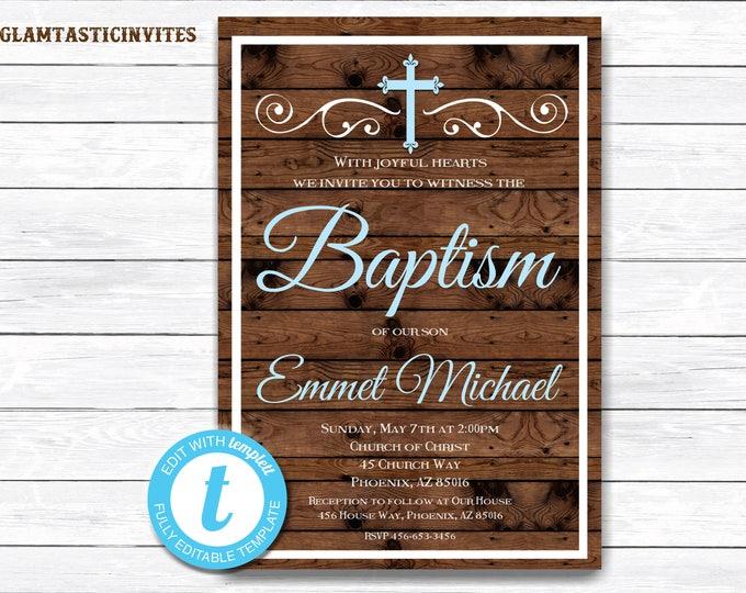Baptism Invitation, Baptism Invitation Printable, Rustic Baptism Invitation, Printable Baptism Invitation, Rustic, INSTANT DOWNLOAD