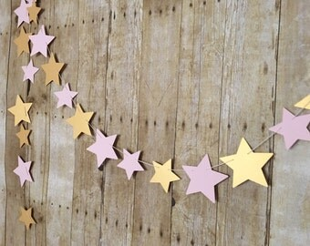 Star Banner -- Star Garland -- First Birthday Party -- Pink and Gold Party Decorations -- Pink- Gold- Stars- ONE Birthday-