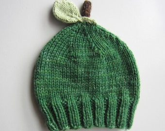 Green Apple Baby Hat - knitted hand dyed merino wool - green & brown - fruit knit beanie