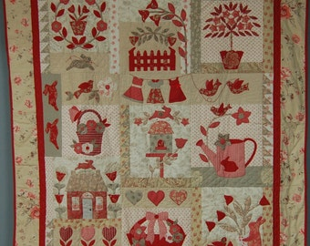 Beautiful Handmade 'Le Jardin' Child's Bed Quilt 100% Cotton French General Original Rouenneries Fabric