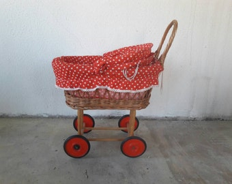 Red Polkadot Rattan Buggy for Dolls '70