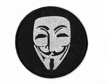 Anonymous Patch V for Vendetta Badge Embroidered Guy Fawkes Applique Hacker Logo Motif Bag Logo Who am I ?