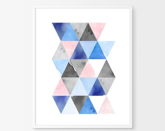 Watercolor painting, Geometric print, Minimalist poster, Scandinavian art, Blue wall art, Large art print, Large wall art, Abstract Triangle