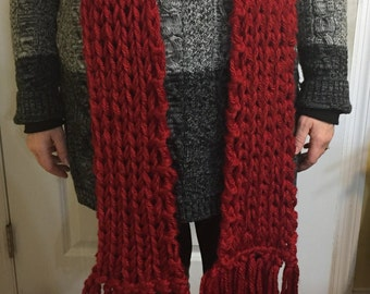 Long Knitted Red Scarf