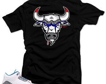 "T Shirt to match Nike Air Jordan Retro 3 true blue ""The Bull"" Black Tee"