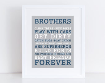 Brothers Wall Art Printable • Boys Room Artwork • Kids Room Art • Brothers Quote • Boy Rules • Brother Gift • Instant Download