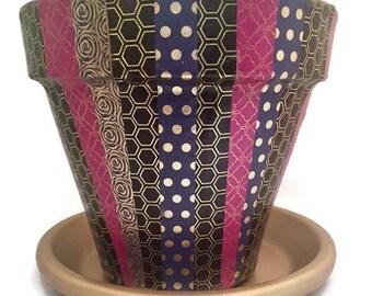 Jewel Tones Harlequin Painted Clay Flower Pot