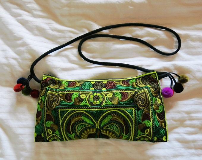 Colorful Bright Green Embroidered Indian Crossbody Purse with Pom Tassels