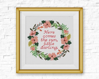 BOGO FREE! Floral Wreath Cross Stitch Pattern, Inspirational Quote Counted Cross Stitch Chart, Home Modern Decor, Instant Download #046-2-31