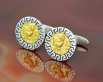 owl silver cuff links, greek cuff links, ancient coin cuff links, cuff links, cuff links for men, silver cuff links, gift for men