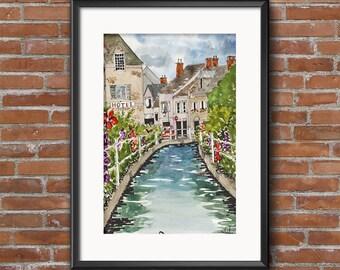 Urban Art England in Spring Watercolor Illustration Fine Art Print