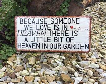 Handmade hand painted garden memorial plaque  wall hanging garden sign