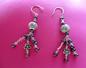 Dangling Heart Pink Earrings