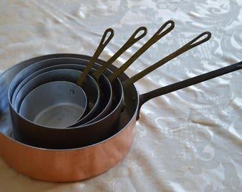 Vintage Set of 5 Copper Pans, France, French, Kitchenware, Copper, Pans, Saucepans, Kitchen