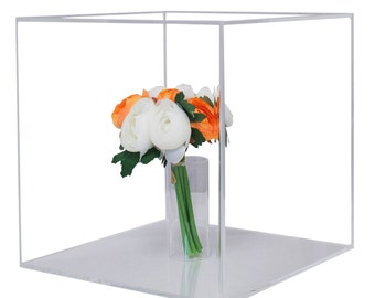 Deluxe Clear Acrylic Collectible Wedding Bouquet Display Case with UV Protection (A031)